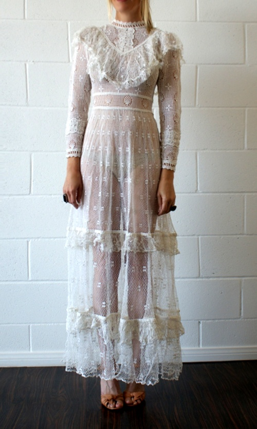 franki-e: thursdayofravens: Vintage crochet dress via ebay Need to add this to