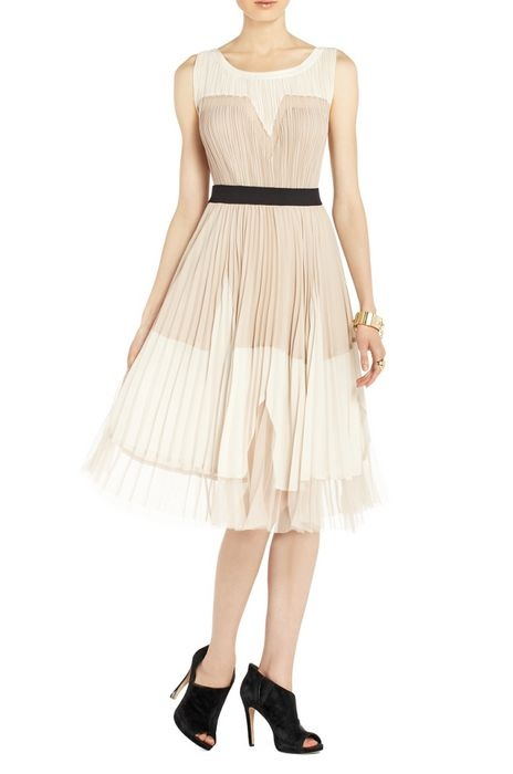 Yellow dress lucea color block pleated skirt