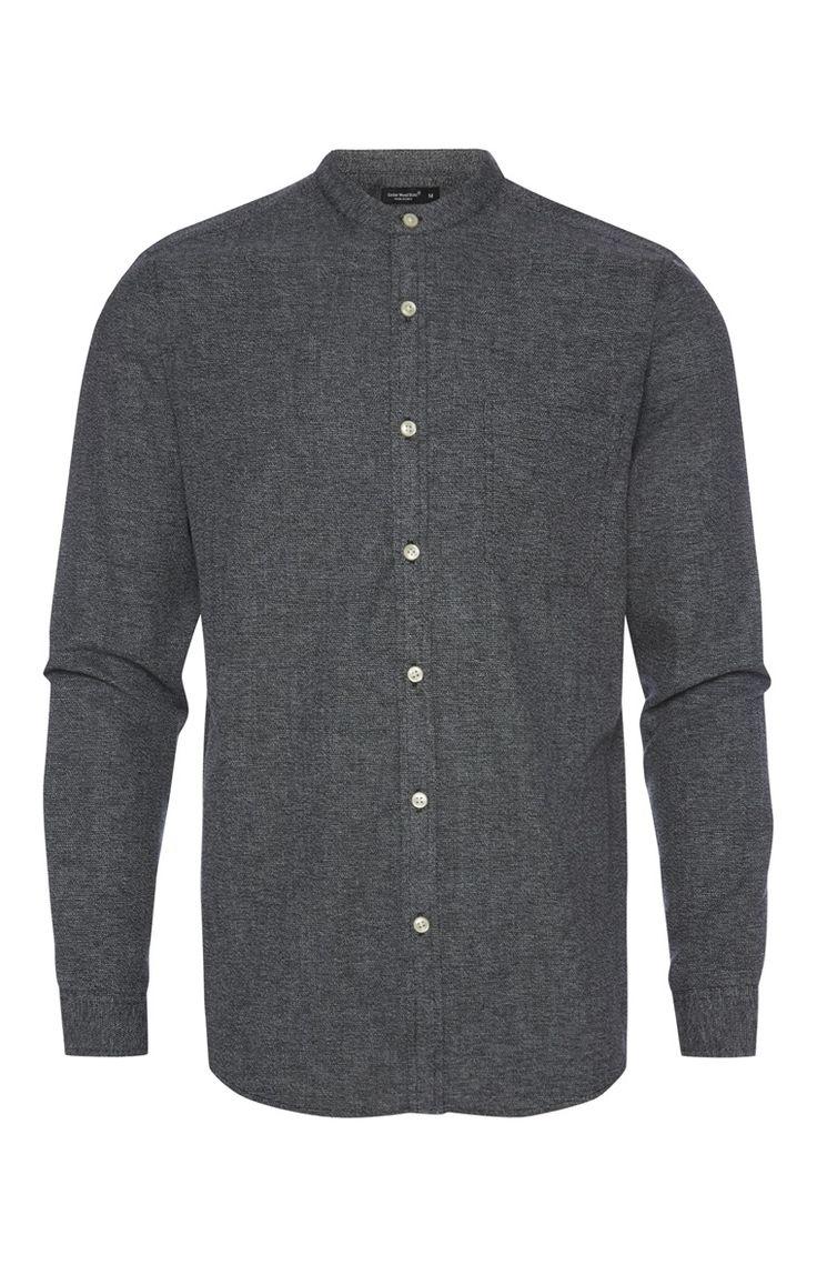 Primark - Black Weave Long Sleeve Grandad Shirt