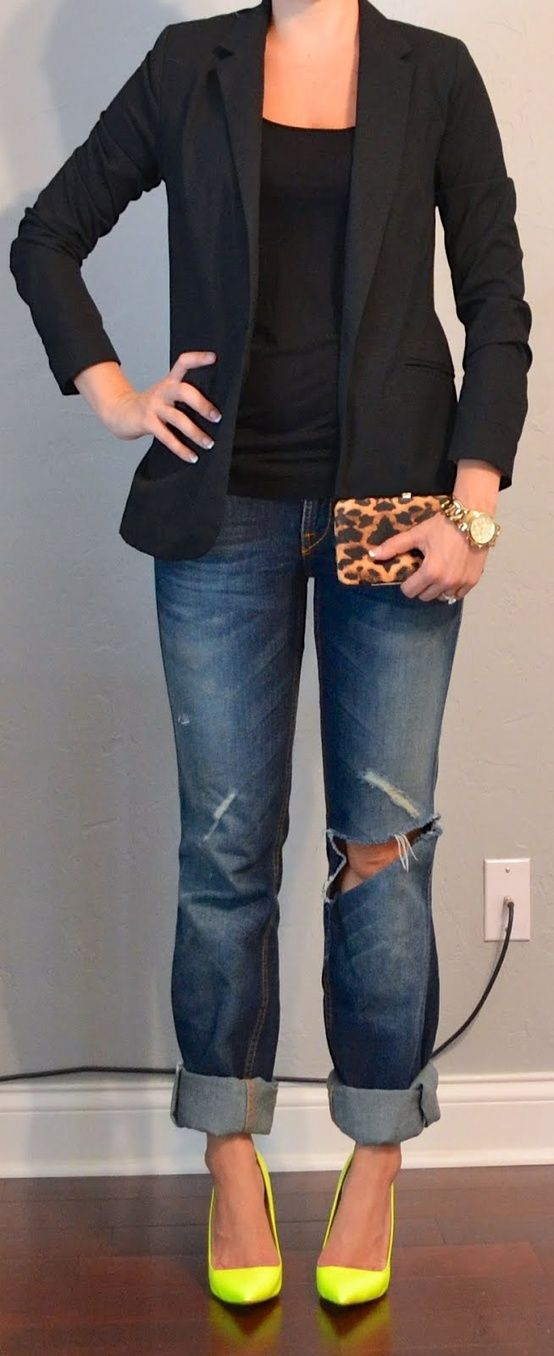 See more Neon yellow heels, boy friend jeans with Black shirt and jackets