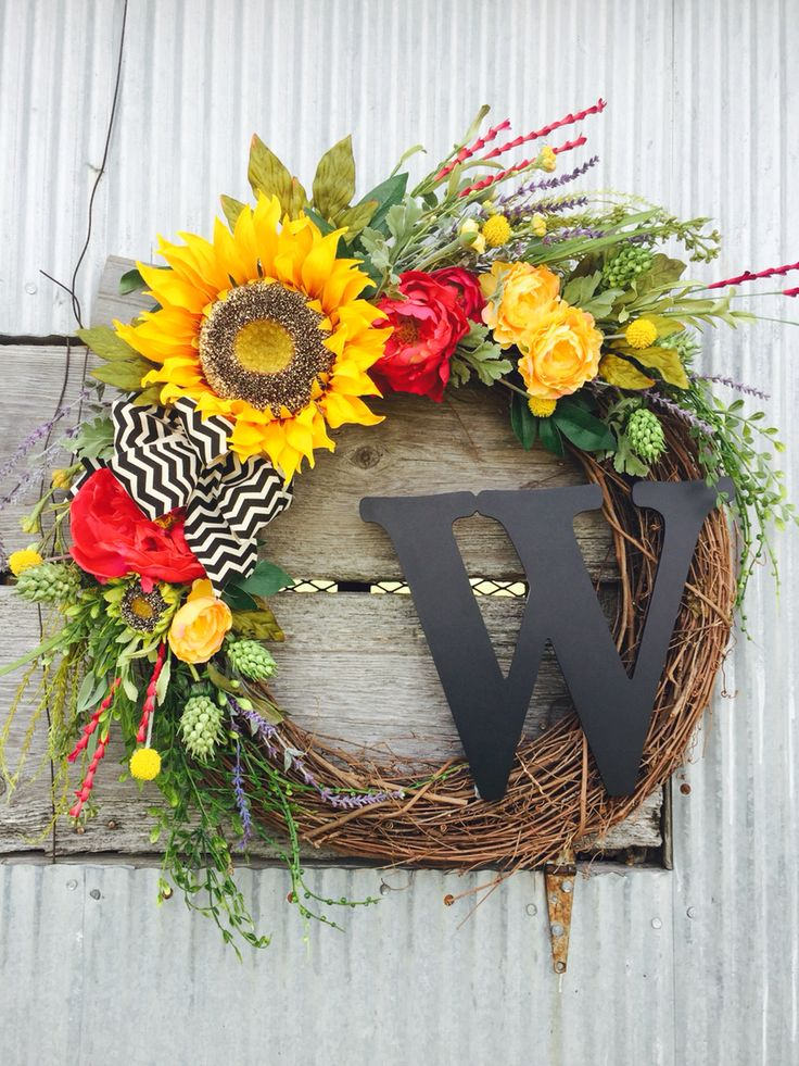 Sunflower Summer Wreath, Summer Wreath,  Monogram Grapevine Wreath. By L Designs