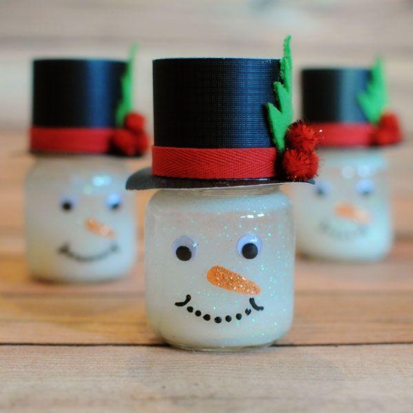 Handmade Snowman With Baby Food Jars