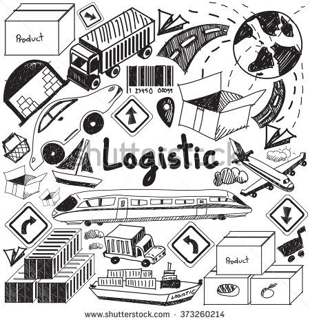 Logistic transportation inventory cargo management handwriting doodle icon object sign and symbol in isolated background for business presentation title or university education with header (vector)