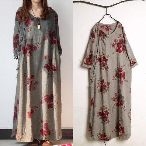 Le donne in cotone vestito dalla stampa di lino