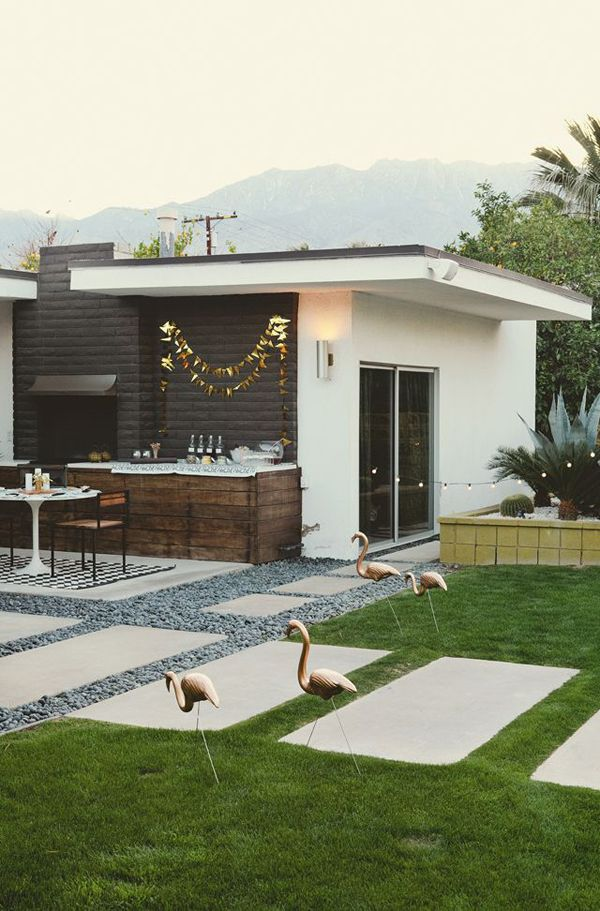 Backyard mid century modern updated - love the gold flamingos!!