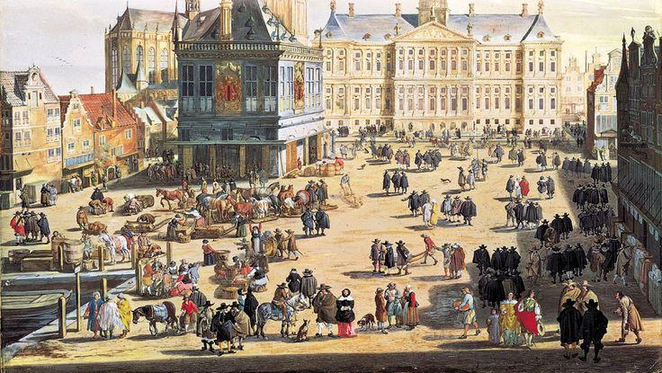 Immagine della piazza di Amsterdam nel 1600, centro della borsa e simbolo dell'ormai affermato Capitalismo