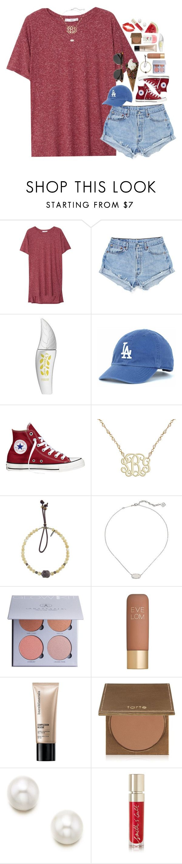 """going to a baseball game tonight!⚾️"" by sdyerrtx ❤ liked on Polyvore featuring MANGO, Physicians Formula, Converse, Catherine Michiels, Kendra Scott, Anastasia Beverly Hills, Eve Lom, Bare Escentuals, tarte and Smith & Cult"