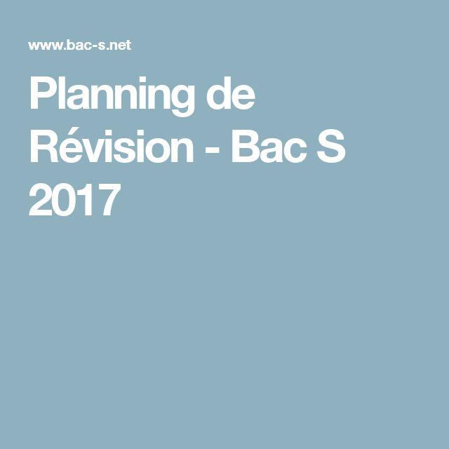 Planning de Révision - Bac S 2017