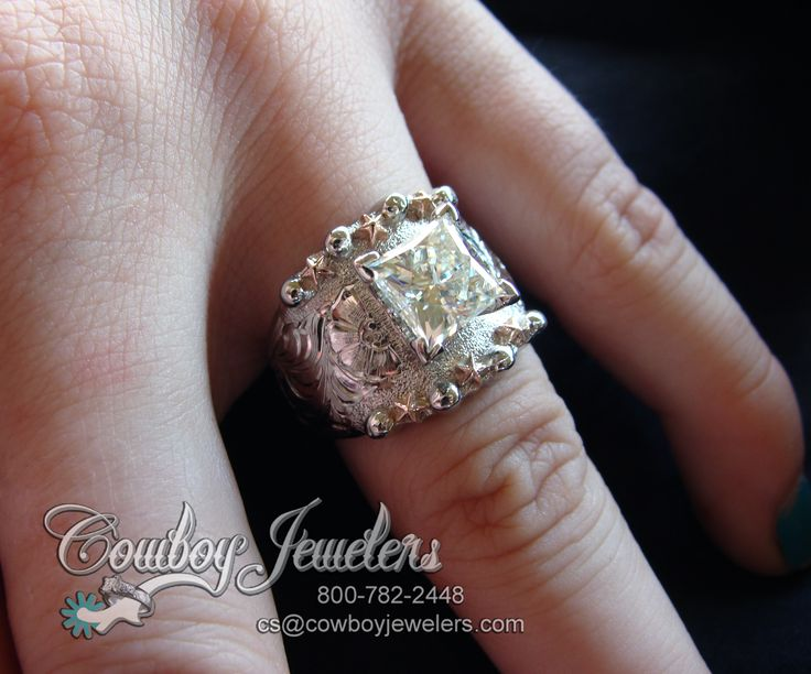 beautiful 14k white gold hand engraved star berry band custom made with 14k rose gold stars perfect example of the custom work we do to represent your - How Do Wedding Rings Work