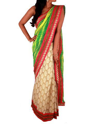 Green Yellow Tie Dye & Golden Tissue Silk half & half Saree – Sweta Sutariya