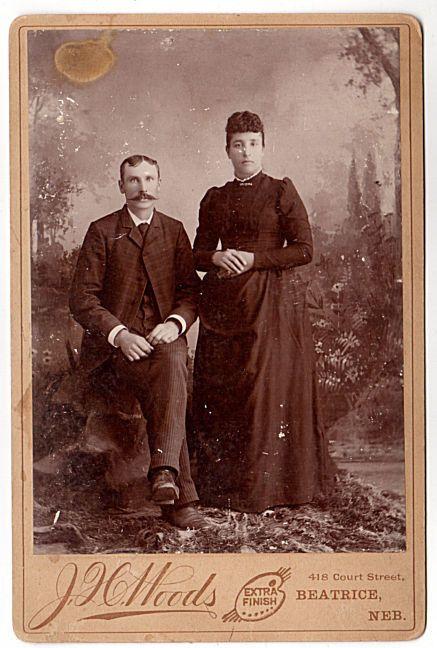 Antique Beatrice Nebraska Photo 1890's Cabinet Photograph J H Woods Photographer Man with Moustache Woman in Long Dark Dress