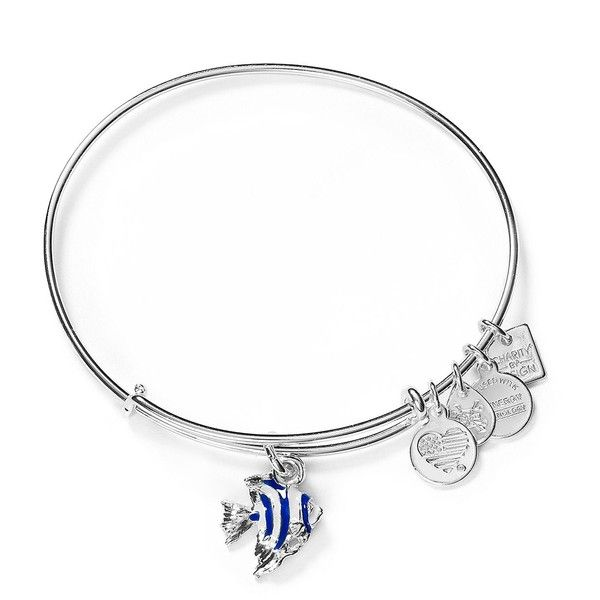 Alex and Ani Angel Fish Expandable Wire Bangle ($40) ❤ liked on Polyvore featuring jewelry, bracelets, shiny silver, letter charms, alex and ani charms, initial bangle bracelet, alex and ani bangles and peace charm