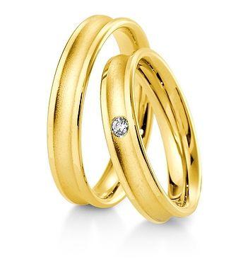 Breuning Trouwringen | Inspiration collectie gouden ringen | 4,5mm briljant 0.04ct verkrijgbaar in 8,14 en 18 karaat | 48041790 / 48041800 OOK in wit geel en rood goud verkrijgbaar of in 2 kleuren goud #trouwringen #breuning #trouwen #breuningtrouwringen #gouden #ringen #jdbw