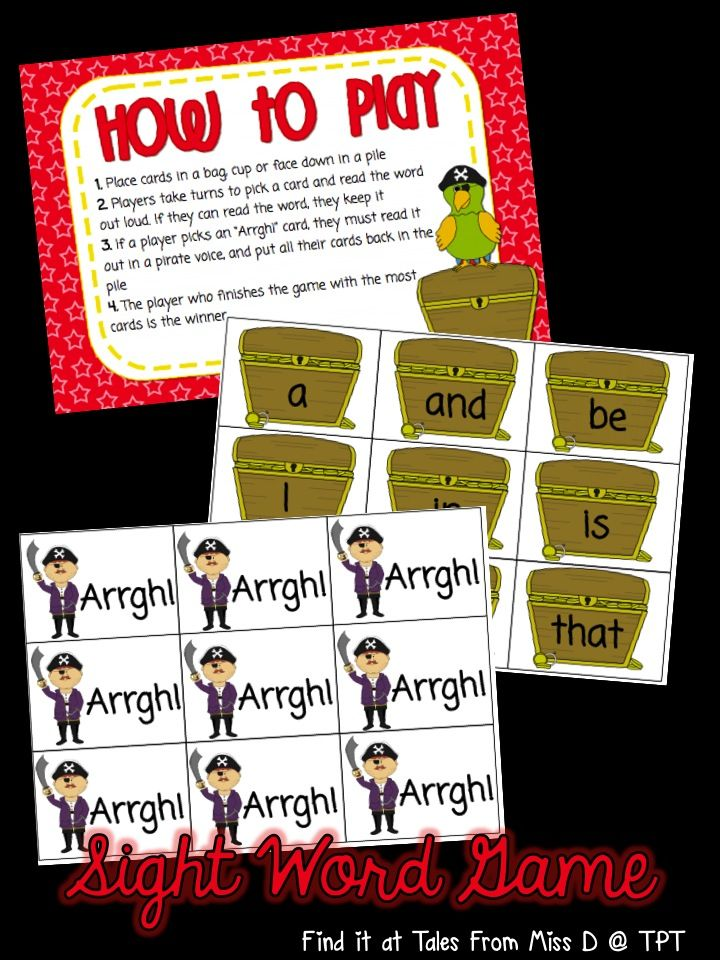"""In this game students take turns to pick a card and read the word. If they can read it, they keep it. If they pull out an """"Arrgh!"""" card, they must read it in a pirate voice and put all their cards back in the pile. The player with the most cards at the end of the game is the winner!"""