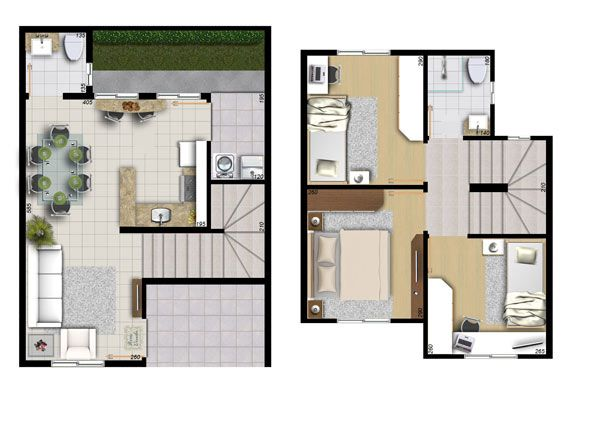 122 best images about casas peque as on pinterest double for Plantas de casas tipo 3