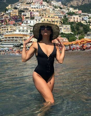 Vanessa Hudgens wearing a Nasty Gal Factory Hayden Lace-up Swimsuit https://api.shopstyle.com/action/apiVisitRetailer?id=514317071&pid=uid7729-3100527-84. #style #celebstyle
