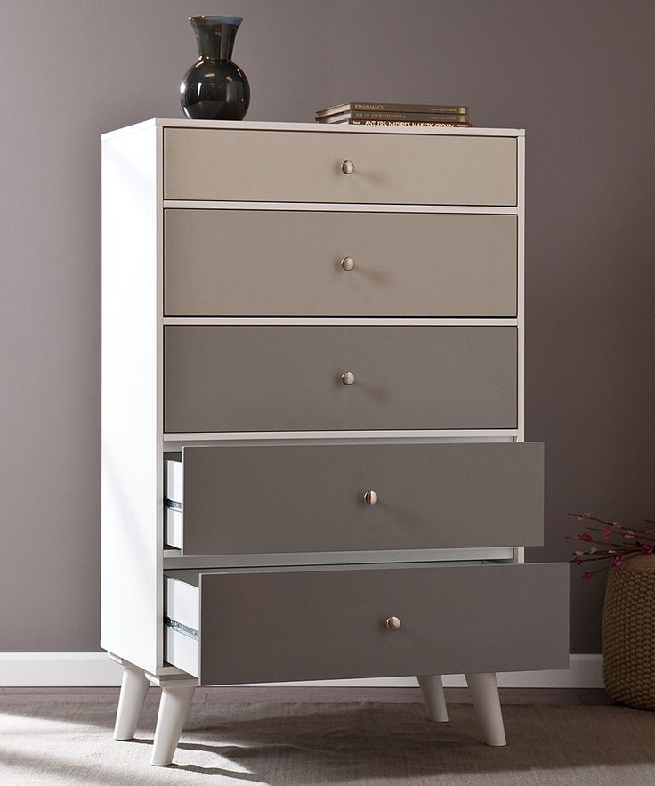 Gray Scale Color Block Five-Drawer Dresser | southern enterprises
