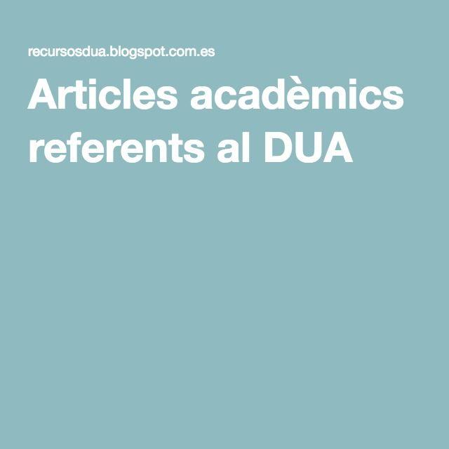 Articles acadèmics referents al DUA