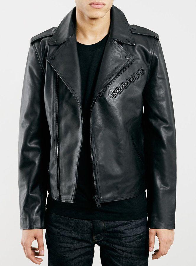 $280, Black Leather Biker Jacket: Selected Homme Black Leather Biker Jacket. Sold by Topman. Click for more info: https://lookastic.com/men/shop_items/290929/redirect