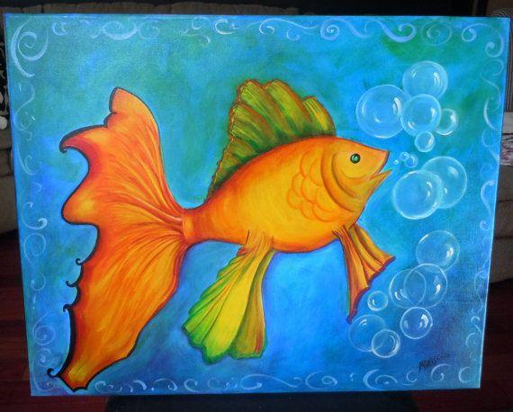 Kid bedroom art goldfish painting blue orange fish sea ...