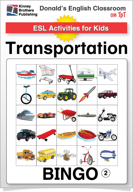 Transportation Bingo is a fun way to build and review vocabulary in your ESL classes! This Bingo set has 30 boards in two sizes with a 40 word vocabulary set! Also included is a Transportation Chart for tacking to a classroom board or directly into students' notebooks.