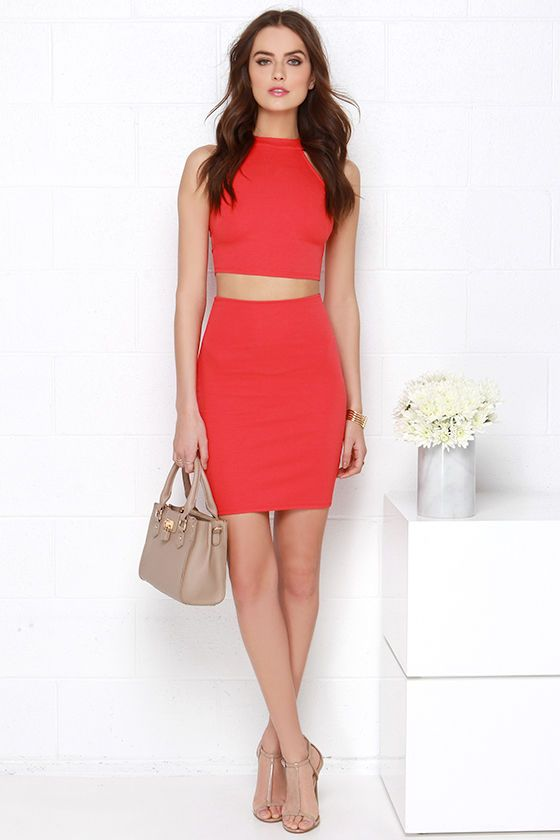 beautiful red two piece outfit