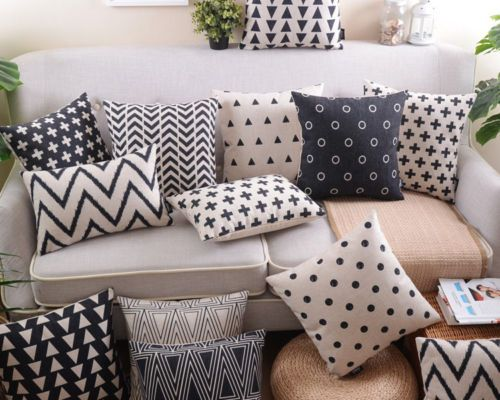 Black and white geometry IKEA simple Housewares pillow sham pillow case cushion case cushion cover scatter cushion throw pillow & 25+ unique Sofa cushion covers ideas on Pinterest | Couch cushion ... pillowsntoast.com