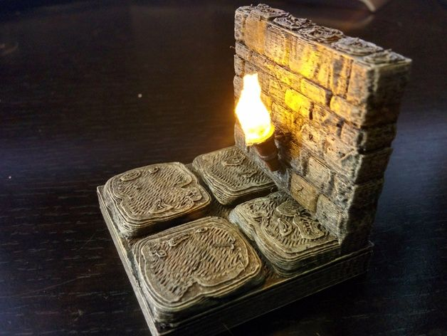 OpenForge Stone Torch Wall by devonjones - Thingiverse