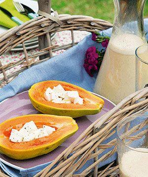 Papaia com queijo fresco - uma sobremesa fresca e leve, a chamar o bom tempo.