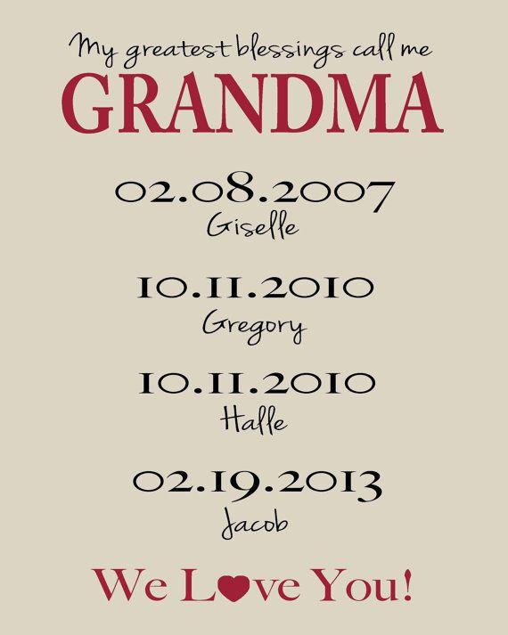 GRANDMA Gift 8x10 Print Up to 7 Names by KreationsbyMarilyn