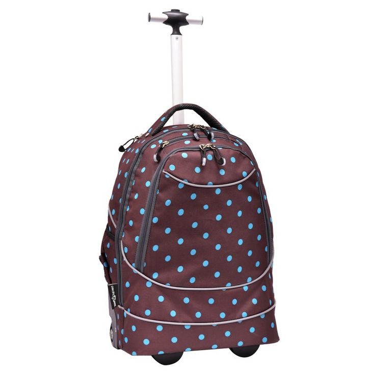 Travelers Choice Pacific Gear Horizon Rolling Computer Bag / Multi-Use Carry-On Backpack Brown / Turquoise Dots - GP80780DOT