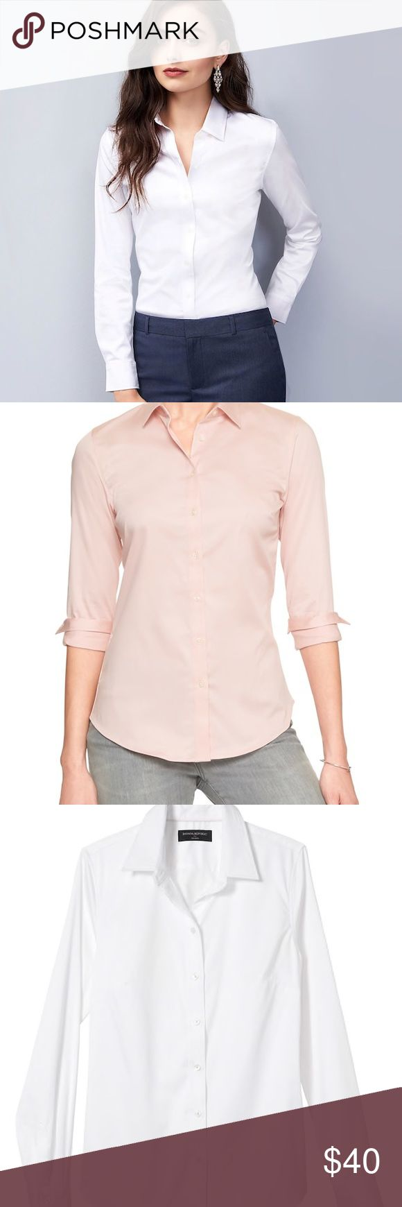 Banana Republic Non Iron Shirts (2)!! One white and one pink non iron banana republic non iron button up shirt! Very lightly used! In great condition! Banana Republic Tops Button Down Shirts