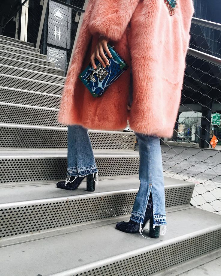 It's all about practicality and comfort (low chunky heeled boots and denim) and staying warm (faux fur, dur) this #NYFW!  www.liketk.it/2aG47 #liketkit