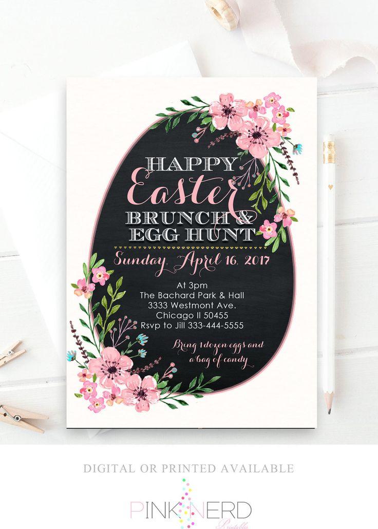Easter egg brunch baby shower invitation floral