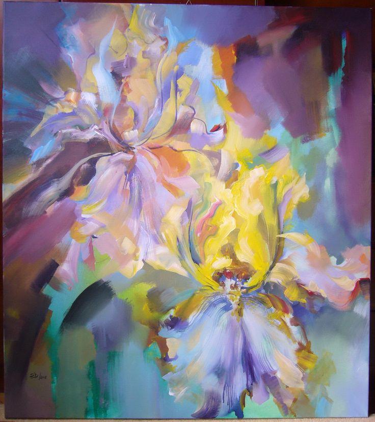Iris flowers- acrylic on canvas, 90/80 cm, 2018, Derecichei Simona Mihaela