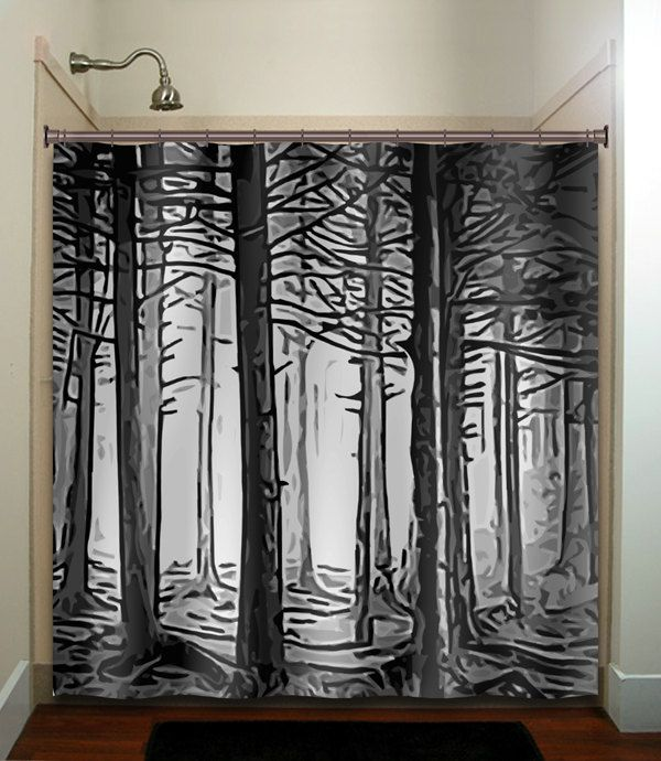 Fifty Shades Of Gray Woodland Forest Trees Shower Curtain Bathroom Decor Fabric Kids Bath Window