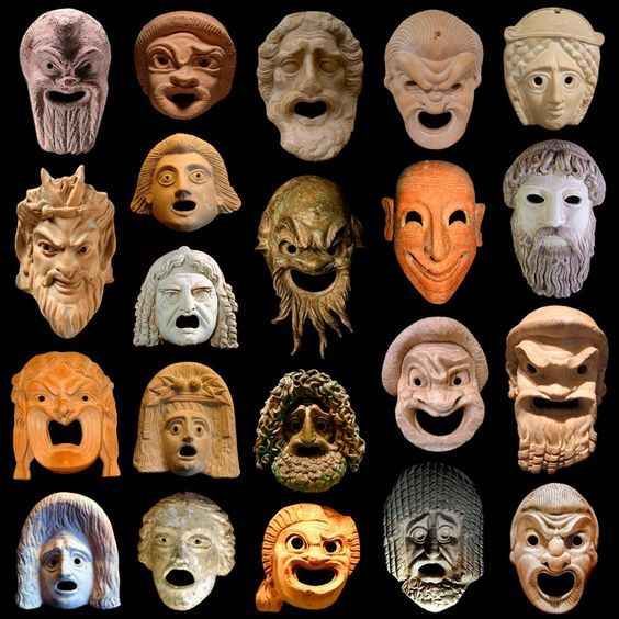 "Ancient Greek Theater masks. The Ancient Greek term for a mask is ""prosopon"" (lit., ""face"") and was a significant element in the worship of Dionysus at Athens:"