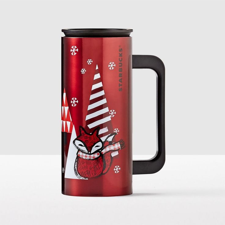 Red Fox Stainless Steel Desktop Tumbler. Capture the joy of the season.
