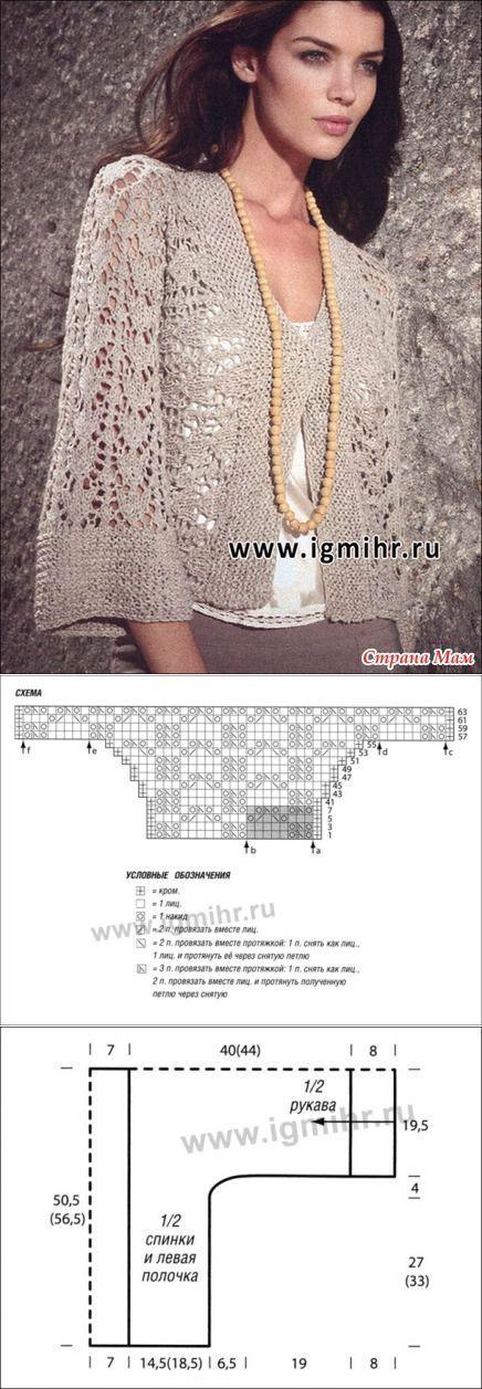 Винтажный ажурный жакет, связанный поперек: Tutorial for Crochet, Knit.....Keka❤❤❤