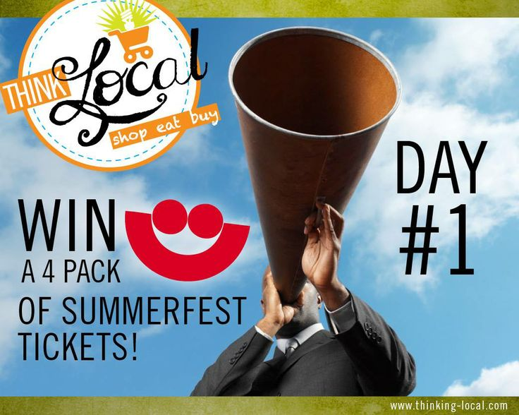 Starting today you have 25 Days left to win your #Summerfest Tickets!   Like and Re-Pin this post to win (1) Family 4-pack of Weekday tickets from us until the end of Summerfest.   Every weekday until the 4th of July,  5 days a week for 5 weeks. Use #THINKlocal in your shares!  Check back every day for more chances to win more tickets! For full contest details, contact us via email or call us directly at (414) 395-8938
