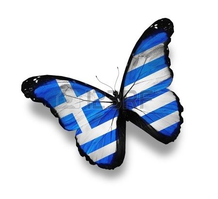 Greek flag butterfly, isolated on white Stock Photo