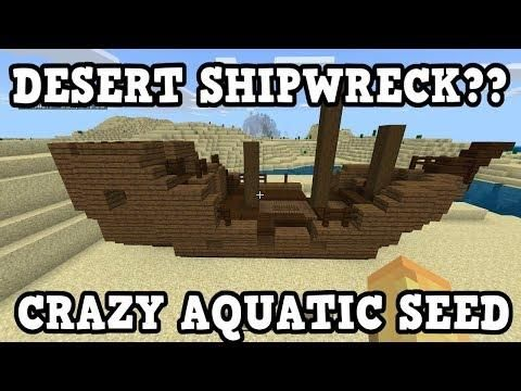Minecraft Xbox / PE - SHIPWRECK IN A DESERT - Aquatic Seed