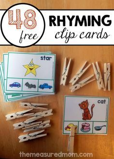 Here's a great rhyming activity for preschool and kindergarten! Just have your child clip the picture that rhymes.  48 free rhyming cards.
