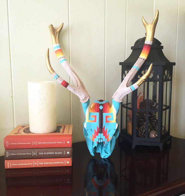 Hand painted southwestern axis deer skull