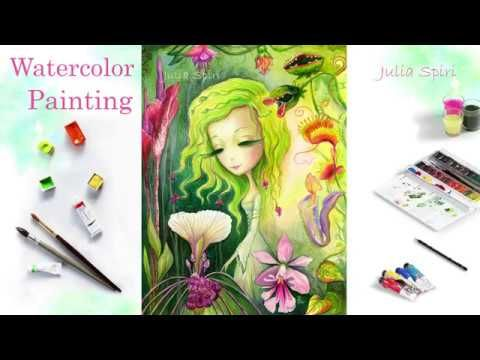 Speed Painting. How to paint a Watercolor. Artwork. Timelapse.  Exotic ...