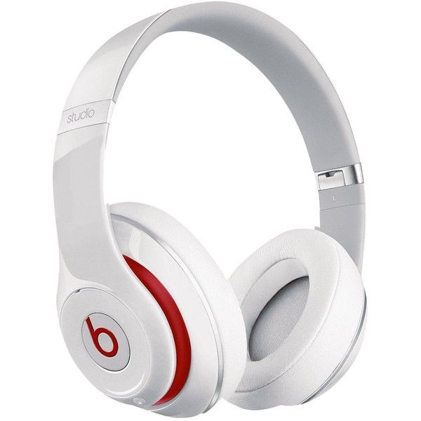 Beats By Dr Dre Studio 2 Over Ear Headphones- White/Red ($255) ❤ liked on Polyvore featuring accessories, tech accessories, tech, white headphones, leather headphones, beats by dr. dre, beats by dr dre headphones and red headphones
