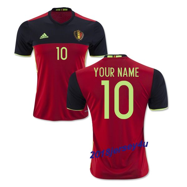 2016 UEFA Euro Belgium Any Name Number Home Soccer Jersey