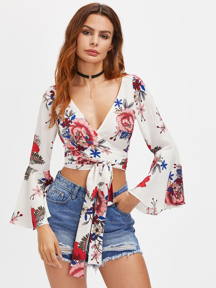 Random Florals Fluted Sleeve Tie Detail Wrap Top -SheIn(Sheinside)