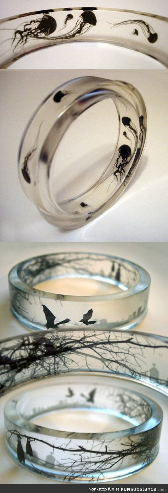 These glass rings with designs in them are so cool