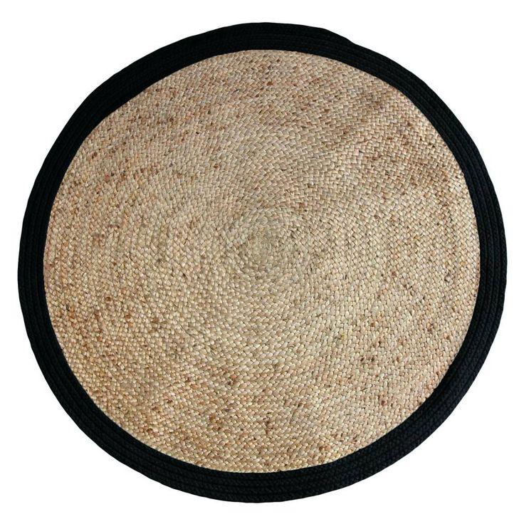 HK-living Rond vloerkleed met rand zwart hennep ø120cm